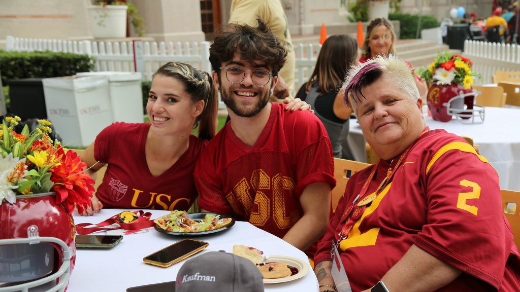 Family and friends in USC colors
